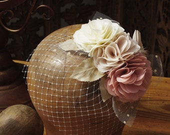 Vintage bride Bridal wedding veil fascinator spots bird nude blush ivory bird cage twenties 20s bridesmaids bright pink powder beige  gatsby