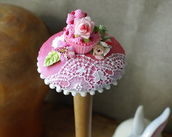 Bridal headpiece rockabella style fifties wedding vintage bride bridesmaids pink lace Cupcake fascinator silk rockabilly 50s colorful sweets