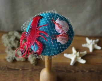 headpiece fascinator fifties navy starfish lobster shells vintage inspired bow velvet style rockabella rockabilly bridesmaid bridal red blue