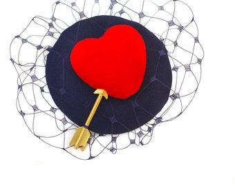 Headpiece Fascinator buslesque Ascot Valentine Vintage Veil Velvet heart 30-ties 50-ties navy blue red elegant  Bridesmaid retro deepblue