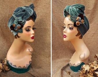 AQUA / PALE TEAL Velvet Turban Headband & Brooch // Vintage 40s 30s // Retro Art Nouveau // grey blue velvet bow // acorns brown  Jazzafine