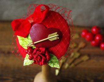 Bridal Fascinator Valentine engagement Vintage Wedding Bridesmaid red gold rose heart amors arrow Headpiece LOVE Lover Silk Bow by Jazzafine