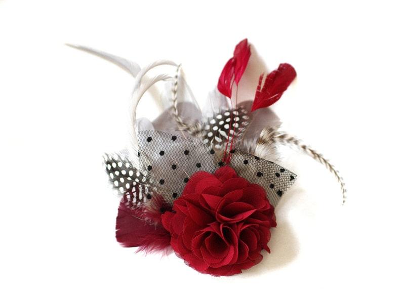 fascinator headpiece burgundy winered grey wedding vintage image 0