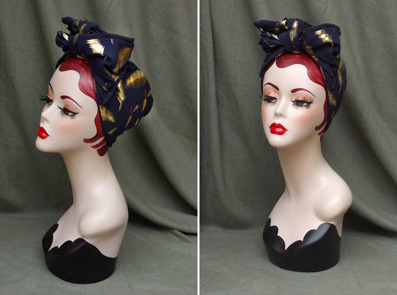 navy blue & gold FEATHERS turban headband 30s 40s // Urban image 0