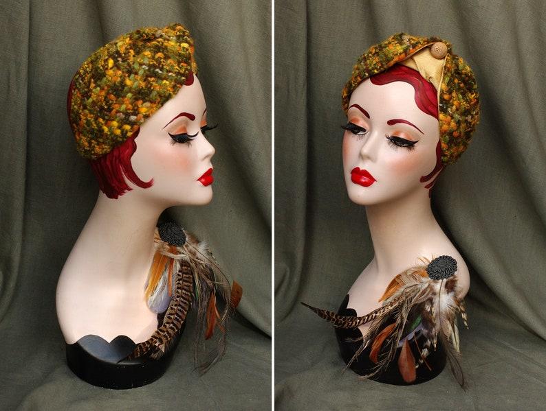 TWEED & SILK Half Hat Headpiece // Vintage style 30s 40s // image 0
