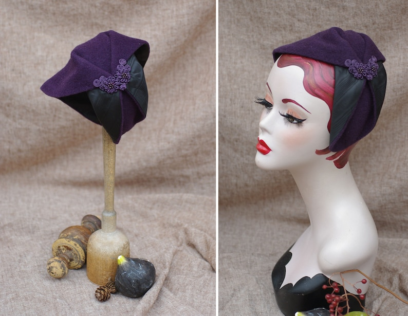 Plum Cashmere & Moiré Taffeta Half Hat // purple black image 0