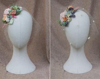 Bird cage with succulents: Vintage bride. Bridal wedding veil. fascinator in pale green, lavender, nude, blush. Bridesmaids rural style