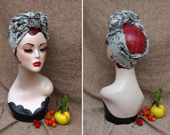 grey & black turban headband // DIVA cool Turban  // Style Vintage 30s 40s // urban turban // gray Retro headwrap // big bow
