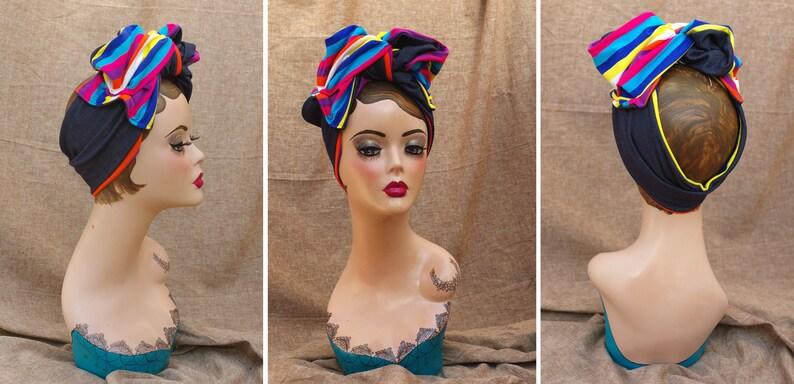 Urban Turban Headband JEANS denim blue RAINBOW pride Vintage image 0