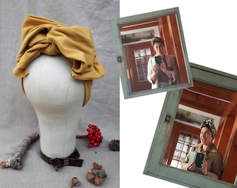 CURRY Turban Headband Vintage FALL AUTUMN accessories 40s 30s gold mustard yellow hat Rockabilly Worker Retro 1940 Bow diva by Jazzafine