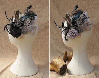 Headpiece fascinator feathers burlesque black & white gray grey taupe head flower bridal bridesmaid wedding vintage CUSTOMIZABLE baptisation