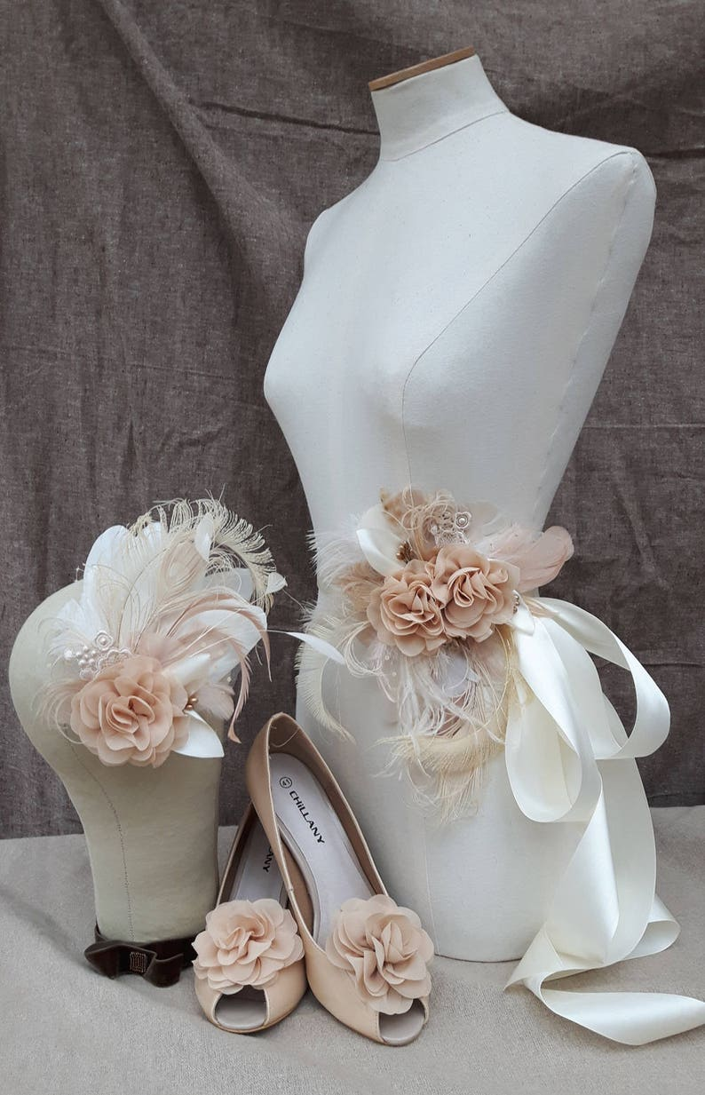 Bridal Sash & Headpiece wedding belt Fascinator Flower vintage image 0