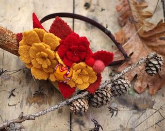 Gold & Red: Headband. Gift idea for Fall or Winter. Yellow Head flowers. Hippie festival bohemian boho headpiece Jazzafine