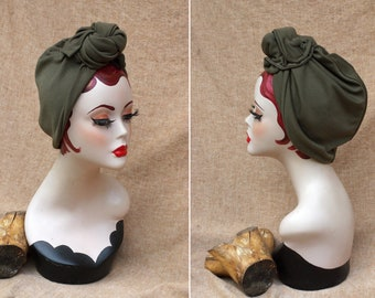 Olive Green, Rusty Red  or cherry red Boho style Full cap Turban for red hai beauties // 40s 30s Accessories Vintage Hat Hair lost // autumn