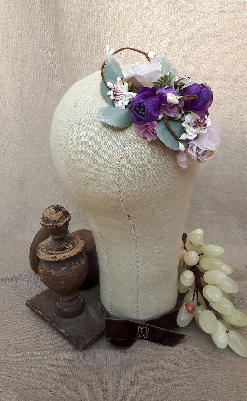 Bridal headpiece purple lavender haircomb wedding vintage image 0