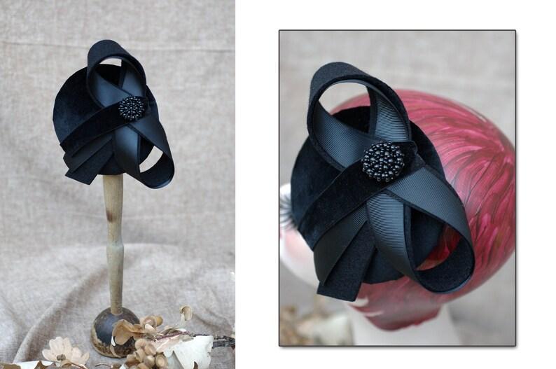 black pillbox hat headpiece pill box ascot fascinator elegant image 0