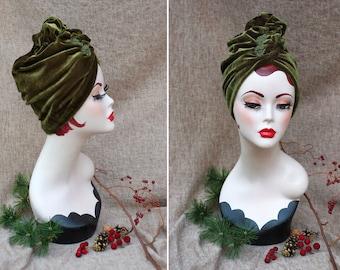 GREEN VELVET Turban hat Full Cap // Vintage diva style // 30s 40s Retro // Unique accessories // cancer hair lost therapy // Art nouveau