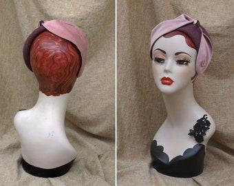 Dusky Pink & Burgundy Half Hat // Velvet Wool Headpiece Vintage 30s 20s Art Nouveau // Headband Fascinator accessories lavender lilac