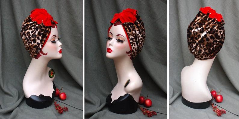 RED & LEO / ANIMAL print : Velvet Full cap Turban // 60s Diva image 0