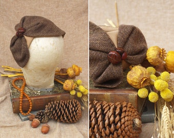 TWEED Fishbone Half Hat brown // Headpiece Vintage Hunter Art Nouveau // Wool Headband accessories Business Look Leather buttons gift idea