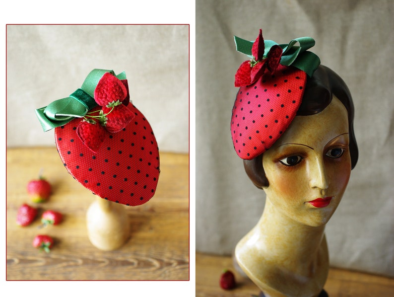 Strawberry Headpiece for Valentines & Engagement // Vintage image 0