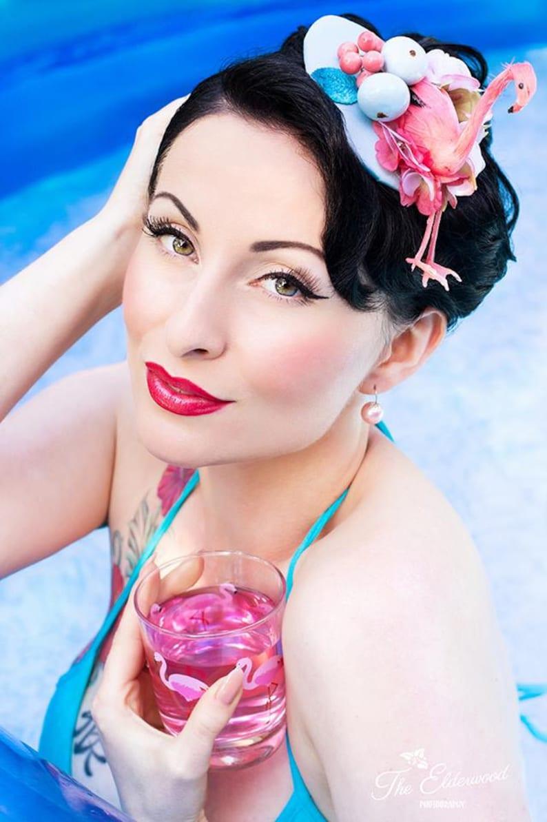 Vintage fascinator bridesmaids pool party 50s flamingo Pin Up image 0