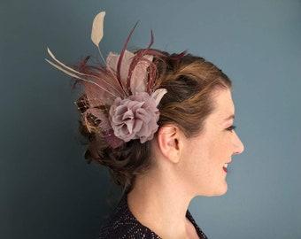 Headpiece fascinator feathers burlesque copper dusky pink mauve head flower bridal bridesmaid wedding vintage pink rose peachy blush nude