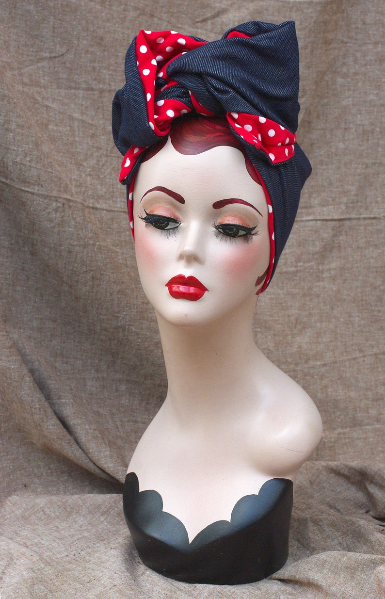 1940s Hairstyles- History of Women's Hairstyles Urban Turban jeans denim POLKA DOTS red white blue Headband Vintage fifties forties 40ties 50ties Retro 1940 1950 worker style Rockabilly $38.37 AT vintagedancer.com