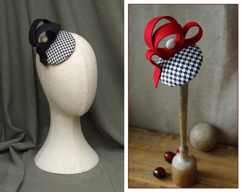 Headpiece Fascinator pill box Houndstooth rockabella Vintage image 0