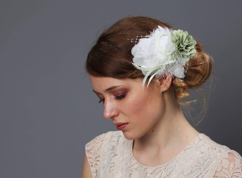 Bridal Fascinator headpiece bridal bride wedding bridesmaids nude mint aqua blue coral peachy flamingo pink feathers beige peacock cream
