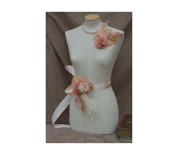 Bridal Sash /& Headpiece wedding belt Fascinator Flower vintage Bride blush nude beige tan Peacock edwardian romantic Bridesmaid lace cream
