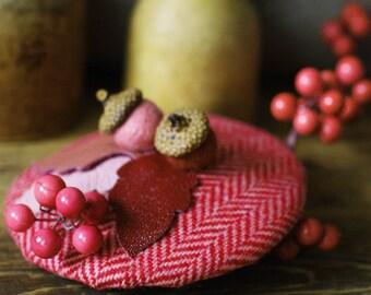 headpiece fascinator tweed wool different colors acorn winter xmas gift idea leather elegant minimalistic vintage fifties style autumn