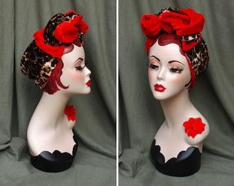 Wild thing! Velvet Turban Headband Leo & Poppy RED // Vintage 30s 40s animal print leopard Pin Up Rockabilly Retro Bow diva GIFT idea