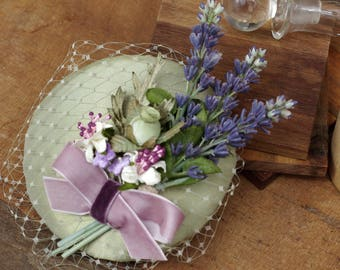 Provence Hütchen Headpiece Boutonniere Lavendel Fascinator pastell Salbei violett lila Flieder hellgrün Schleier mint Braut Haarschmuck