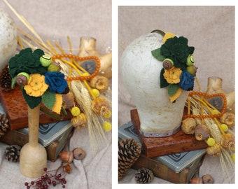 Gold & Green Headband // autumn colours Gift Fall  // Yellow teal Head flowers // bohemian headpiece PURE WOOL customizable accessories