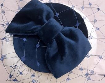 Fascinator headpiece navy dark blue Vintage Velvet bird cage veil ascot style sequins bow glamour fifties bridesmaids something pillbox