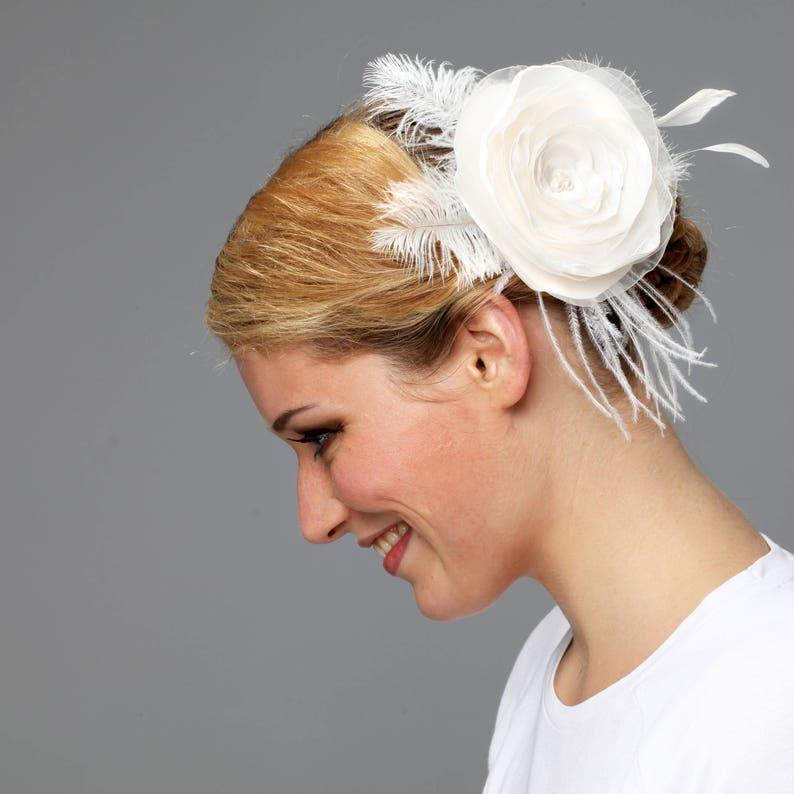 bridal headpiece fascinator head flower feathers boho bride image 0