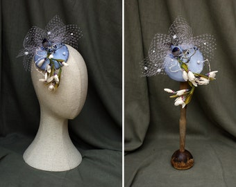 Headpiece vintage snowdrops & bird // pale blue Bridal Bride Wedding // something blue // Bridesmaids Fascinator veil // bird cage pastel