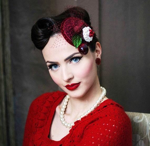 Fascinator CUPCAKE berries cherries headpiece veil winered Pin Up rockabella fifties bridal VINTAGE wedding Bridesmaids Retro Bride red