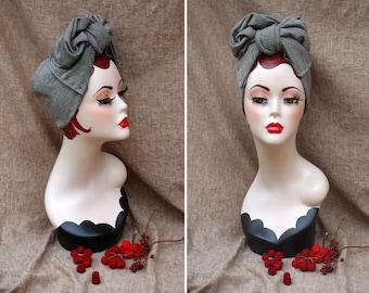 GLENCHECK  Glen Plaid brown & cream Turban Headband // Urban Turban 40s 50s Style Vintage // Business Look Bow checked Retro 1940 1930