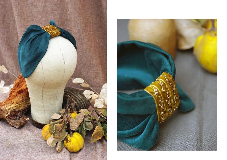 d7859298afaa0e Haarreif Half Hat Headpiece Samt & Gold Perlen // Petrol   Etsy