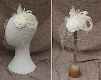 ivory & cream bridal fascinator // headpiece for vintage bride // bird cage veil feathers // 50s wedding boho customizable peacock beige tan