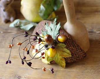 Fascinator for FALL. TWEED. Autumn headpiece. Teardrop with acorns, vintage velvet leaves. curry brown yellow ascot fish bone british green
