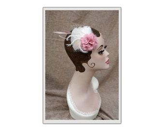 Bridal headpiece: dusky pink / mauve & ivory. Fascintor fot vintage bride or bridesmaid. Pink wedding colour. Customizable by Jazzafine