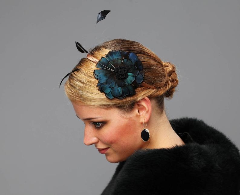 Fascinator headpiece bridesmaid deep green huntress pheasant image 0