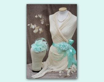 MINT / PALE GEEN: Bridal Sash & Headpiece // vintage wedding belt Fascinator // Bride light green Peacock edwardian romantic Bridesmaid