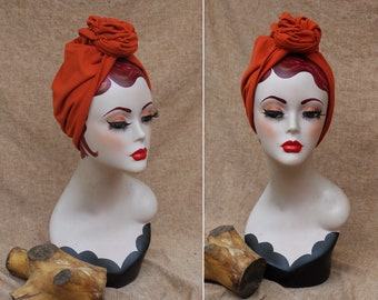 Rusty Red  Boho style Full cap Turban for red hai beauties // 40s 30s Accessories Vintage Hat // Hair lost // autumn colour