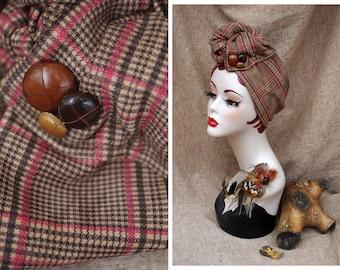 GLENCHECK Tartan Glen Plaid brown red dusky pink Turban Headband // Vintage leather buttons // Business checked british Retro 1940 1930
