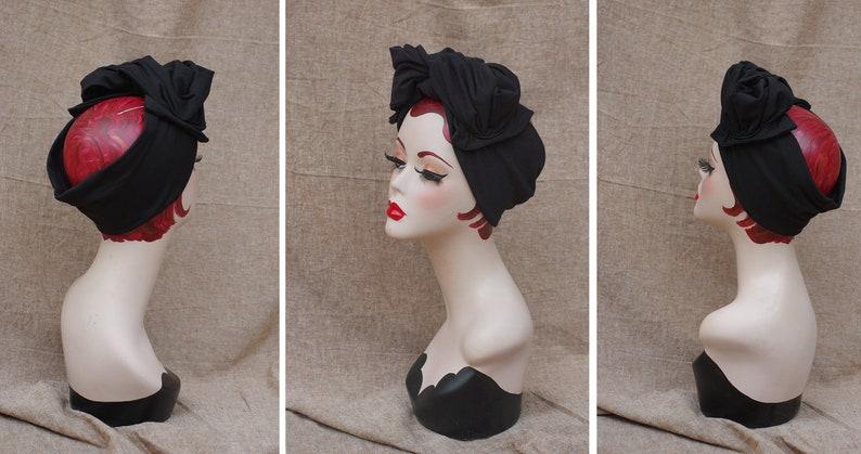 Vintage style black turban headband 40s // Urban Diva Diva image 0