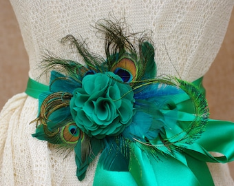 Bridal Sash wedding emerald green teal belt Flower Sash vintage Bride peacock edwardian romantic Bridesmaid unique feathers turquoise